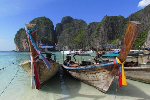 Phi Phi Islands traditional boats on the beach